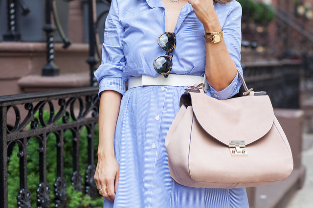 Work Advice | 5 Reasons to Shut Down When You Leave The Office joie summer dresses to wear to work zara heels nude strappy heels blush pink suede bag karen walker sunglasses what to wear to work in the summer work dress belted white stripes corporate catwalk professional blogger what to wear to work corporate blogger fashion blogger nyc blogger