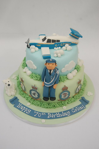 A highly personalised cake from the model of light aircraft to the uniform and edible squadron logos. The Pilot and Light Aircraft Cake - from £100.