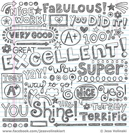 Excellent Words Of Encouragement Praise Sketchy Notebook D