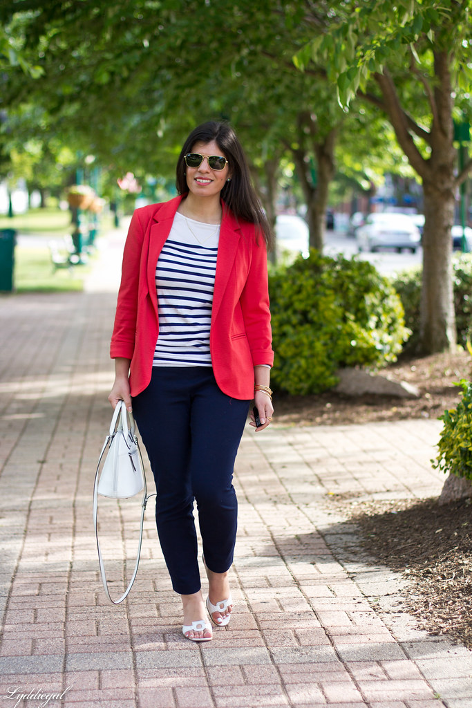 red blazer, striped shirt, navy trousers, white bag-3.jpg