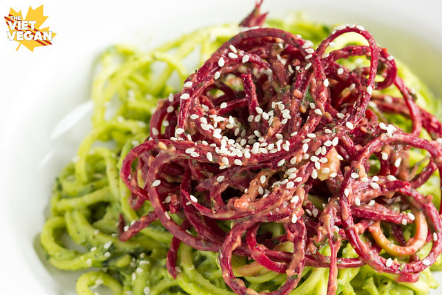 Zucchini Beet Noodles with Avocado Cream