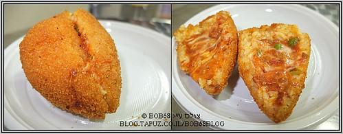 אוכל בסיציליה: ארנצ'יני בשר – ארנצ'יני בצורת חרוט עם ראגו, גבינה ואפונה.