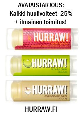 hurraw.fi avajaistarjous hurraw huulivoide verkkokauppa