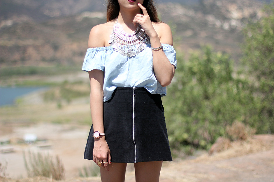 PacSun Kylie Kendall Jenner Crop Top, Motel Rocks Skirt, Turkish Coin necklace, Zara boots, Rumba watch
