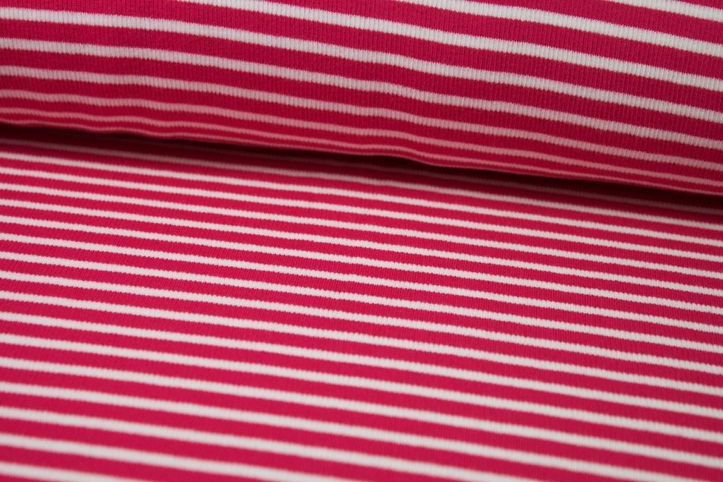 Ringelbündchen, pink-weiß