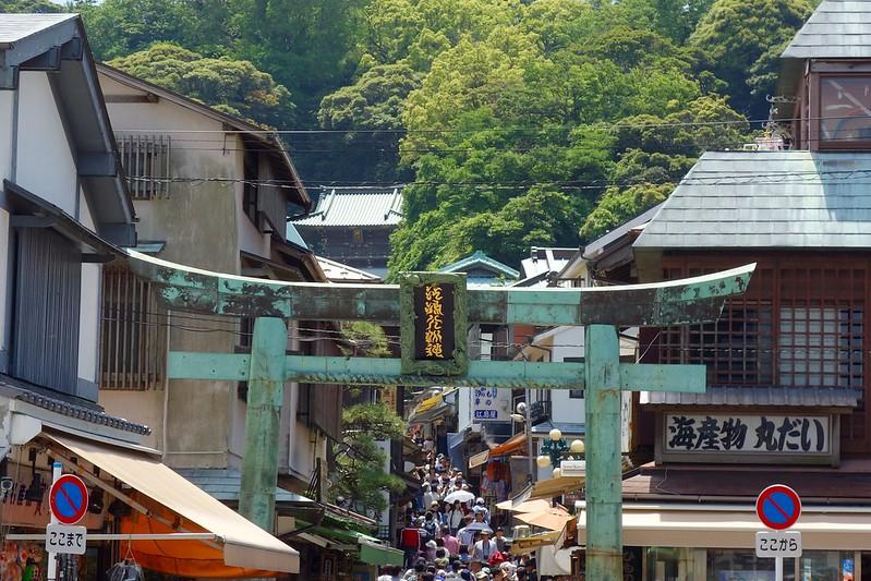 江島、島内の入り口の門