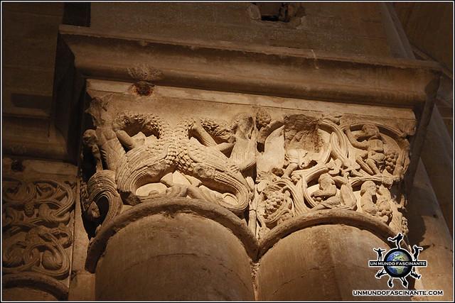 Detalle Capiteles del interior de la Catedral de Lleida, Cataluña. España.
