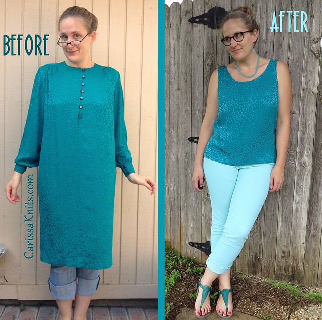 Teal Silky Spotted Top - Before & After