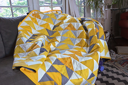 Yellow & Grey Flying Geese Quilt Throw - Top - All But Closing Up the Binding