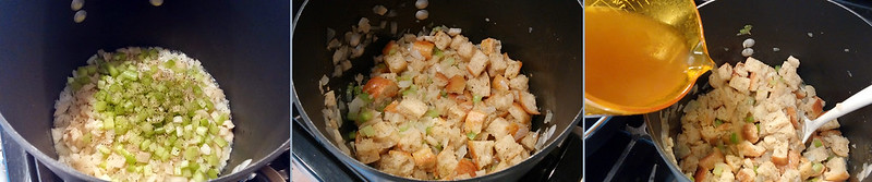 Sauteing Veggies. Mixing in Croutons. Stirring in broth.