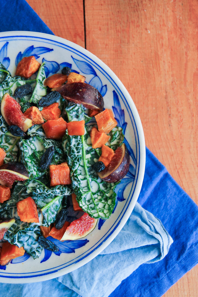 Salade de kale, patate douce et figue