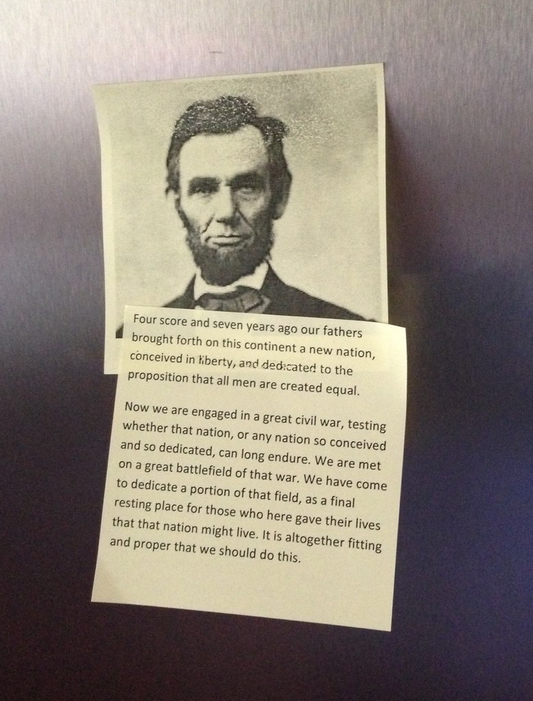 Abraham Lincoln And The Gettysburg Address On Post It Note