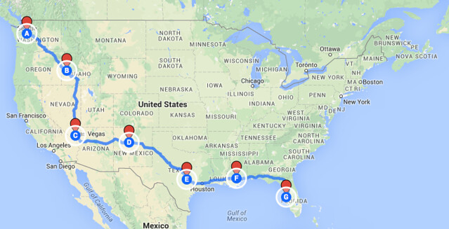 Florida Road Map 2015.Coast To Coast Road Trip Seattle Wa To Tampa Fl Ramblin