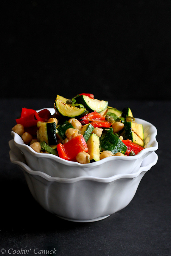 Grilled Vegetable, Chickpea and Caper Salad {Vegan} - Who knew veggies could be so addictive?! 138 calories and 4 Weight Watchers PP | cookincanuck.com