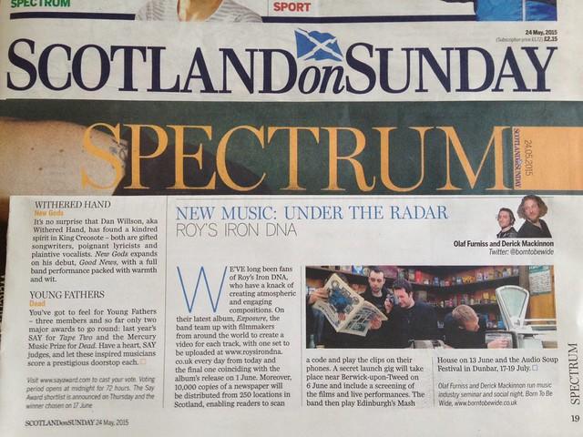 Olaf Furniss and Derick Mackinnon Scotland On Sunday, Spectrum Magazine 24 May 2015, Roy's Iron DNA