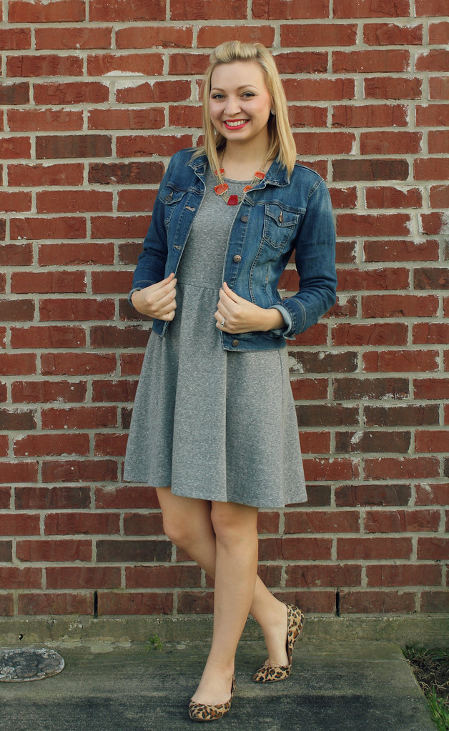 gray dress + jean jacket + leopard flats