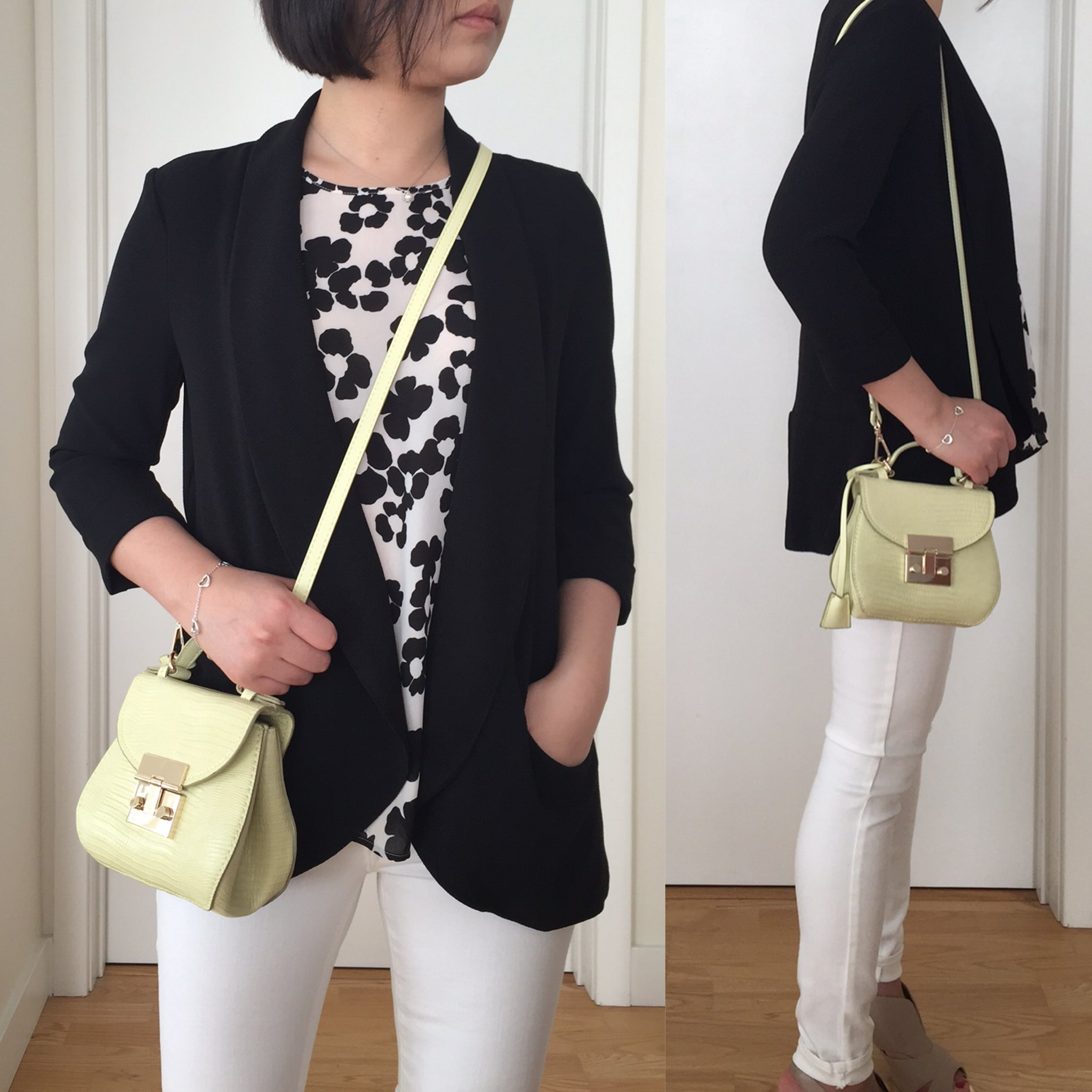 Outfit with Zara Mini City Bag in Lime Green (item no. 4498/0004)