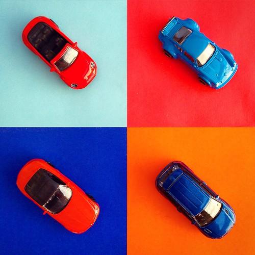 Majorette - VW Beetle Cabrio, Hot Wheels - Porsche 911, Majorette - BMW Z4, Majorette - Range Rover Evoque
