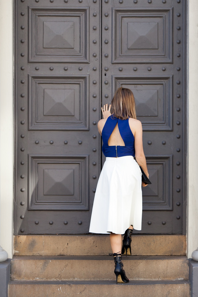 What to wear: White midi skirt, Finders Keepers top