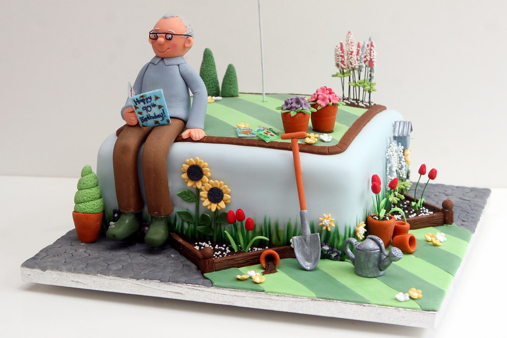 Gardener 39 s cake magpiejo 39 s flickr for Gardening 80th birthday cake