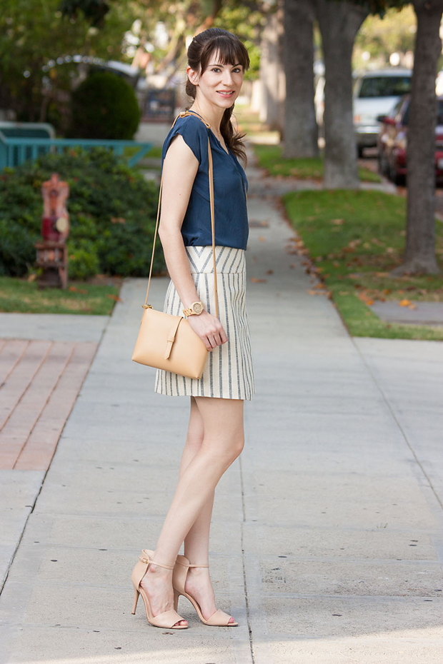J.Crew Wrap Skirt, Jord Watch, Nude Crossbody Bag