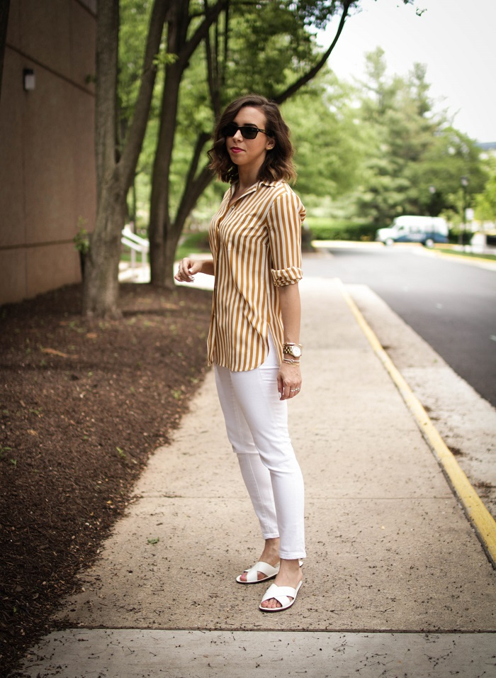 aviza style. a viza style. andrea viza. fashion blogger. dc blogger. spring style. white denim. verticle stripe silk top. white slides sandals. 3