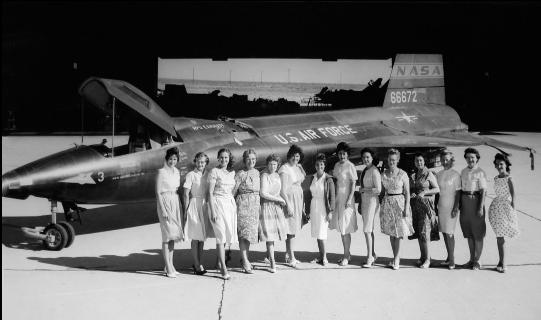 women of NASA in front of X-15 No. 3. They served as the computers