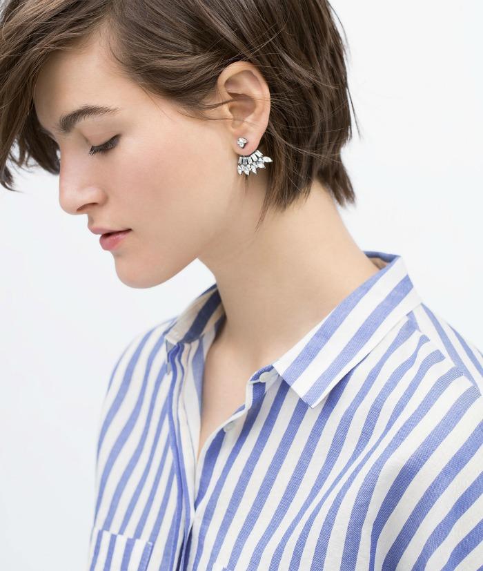 pendientes ancla brillantes Zara