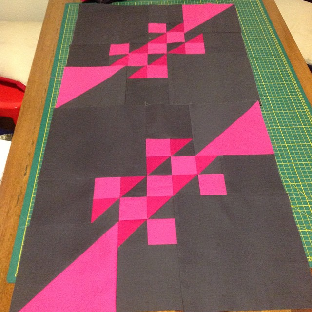 2 of 12 blocks down :) #learningtolovepartialseams #omgiamsewingwithpinkagain