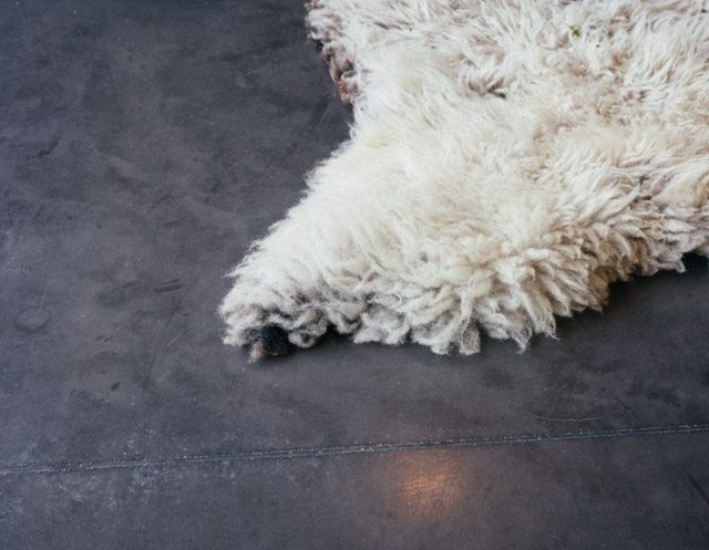 fluffy rug on charcoal grey floor