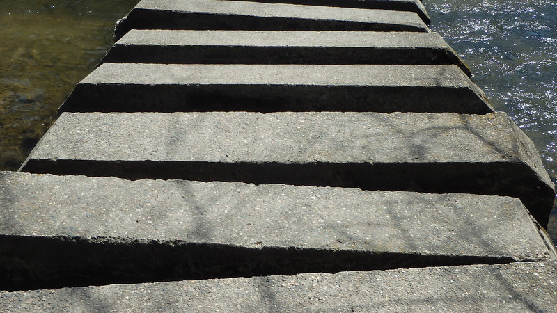Concrete steps with spaces between