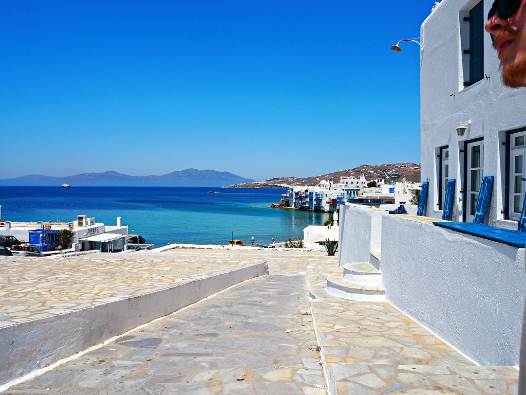 Mykonos blue and white streets 2
