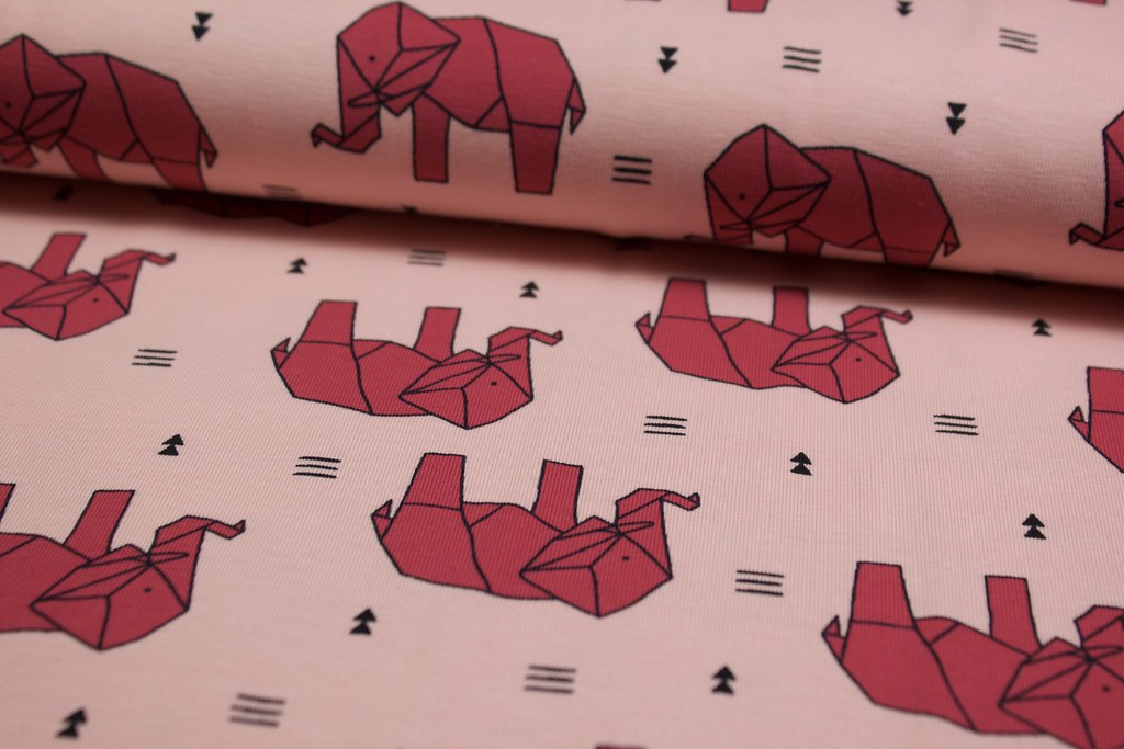 "Baumwoll-Jersey ""Origami Elefanten"", rosa"