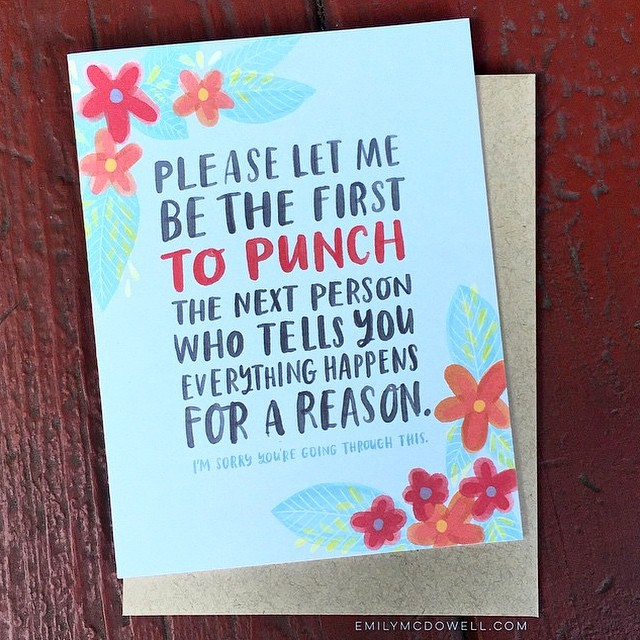Hey, have you seen the genius #empathycards created by @emilymcdowell_ ?  She created them based on what she wished people would have said to her when she was sick. They're quirky and pretty and perfect for when you don't quite know what to say, and so mu