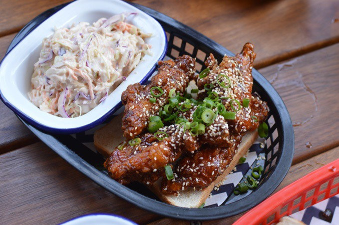 Chicken ribs in peach BBQ, Carolina slaw