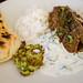 Thai beef curry, zucchini patties, raita, rice and naan | Flickr ...