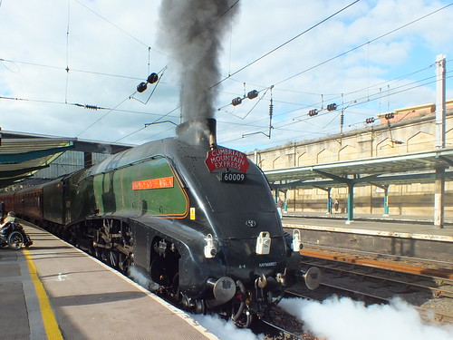 "60009 "" Union of South Africa "" leaves Carlisle with the Cumbrian Mountain Express 
