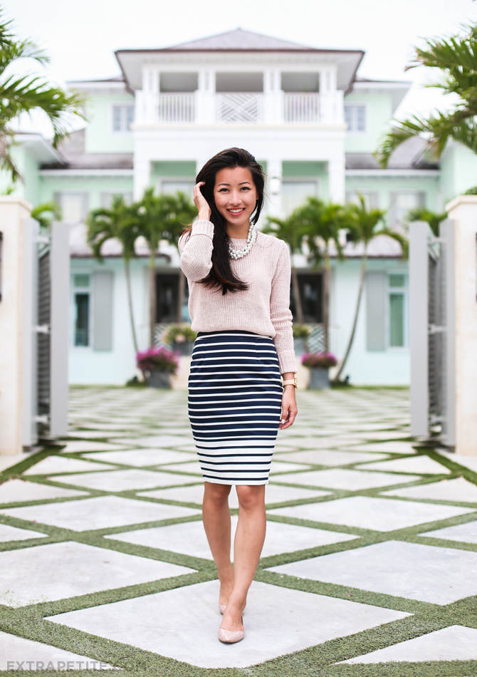 linen sweater stripe skirt flats