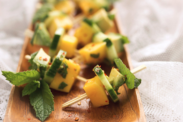 Mango Avocado Cucumber Mint Bites