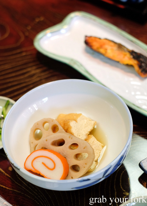 Fish cake, lotus roots and tofu at Nakayasu Ryokan, Kanazawa