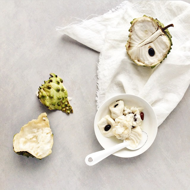 Woke up this morning to discover that one of the $1 custard apples we brought back from our trip up the coast had ripened. Oh yeah baby. . . . #tastyvignettes 3. #texture @cookrepublic