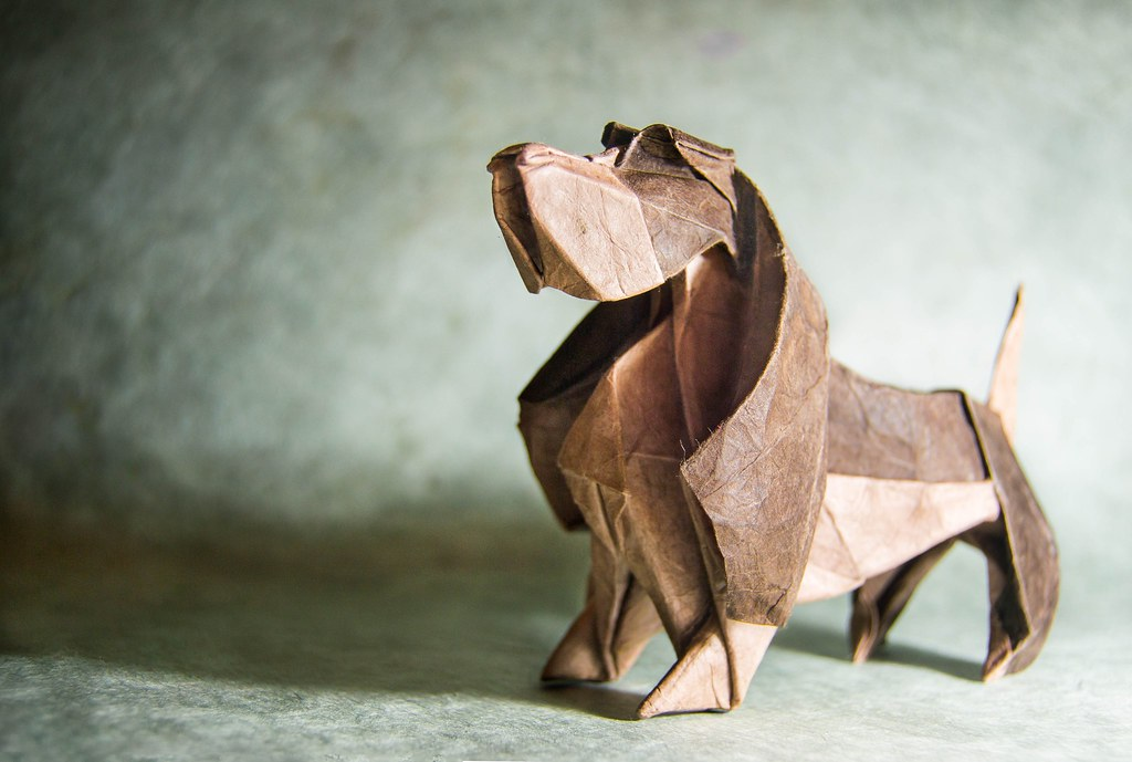 Like a father origami basset hound designed by lee jae gu flickr - Animaux origami 3d ...