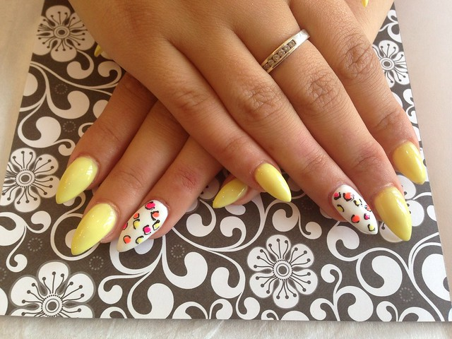 Acrylic nails with yellow gelish gel polish white gelish gel polish on
