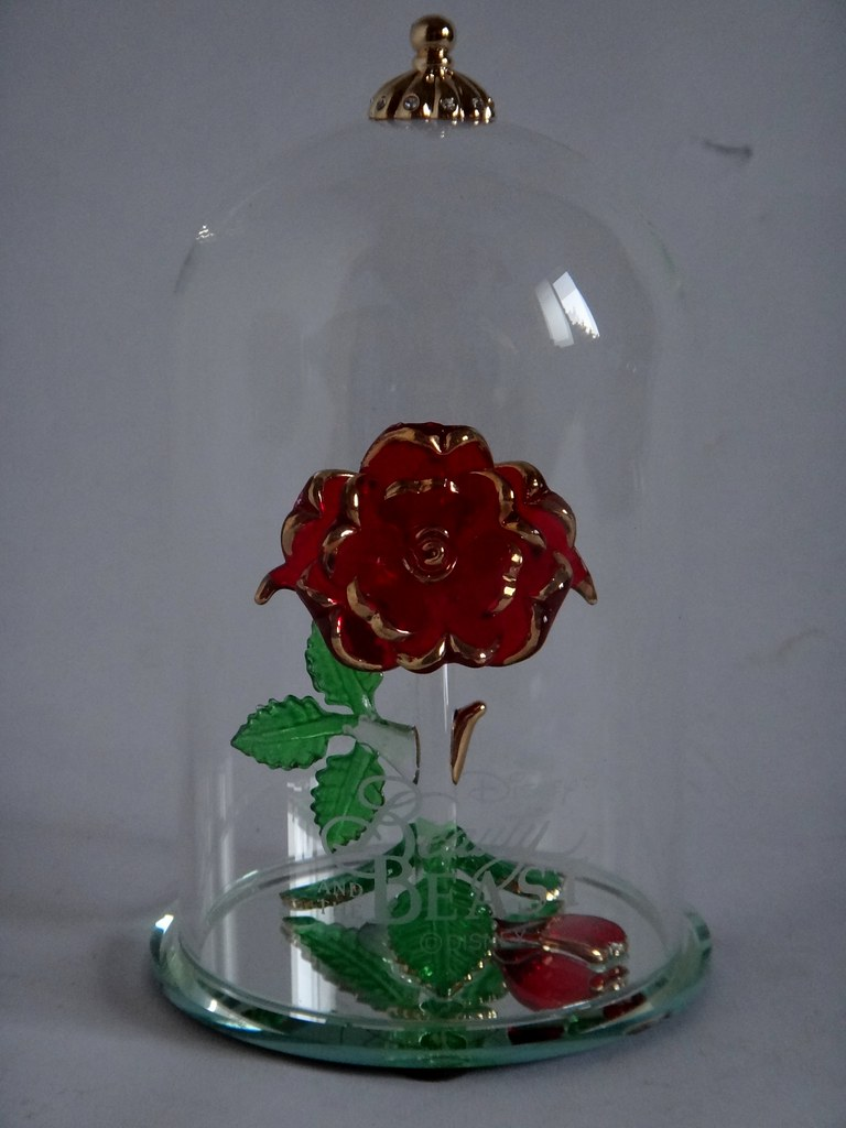 Beauty and the beast enchanted rose glass sculpture by arr for Rose under glass