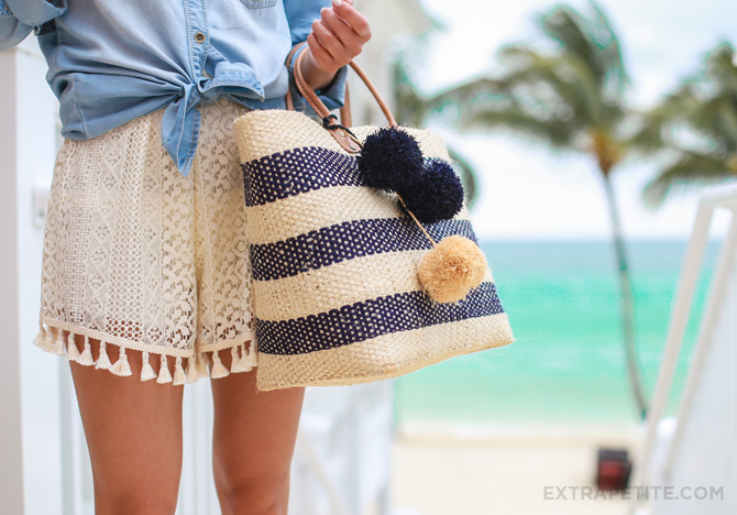 chambray shirt crochet shorts beach outfit