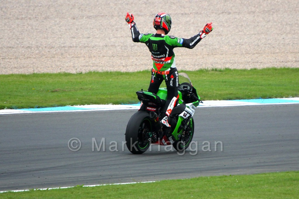 Tom Sykes on his victory lap after World Superbikes Race 2 at Donington, May 2015