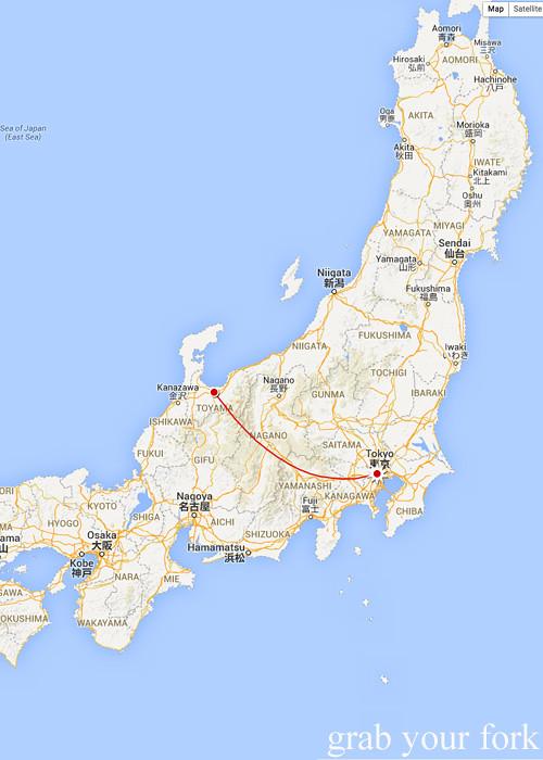 Tokyo to Toyama, Japan map