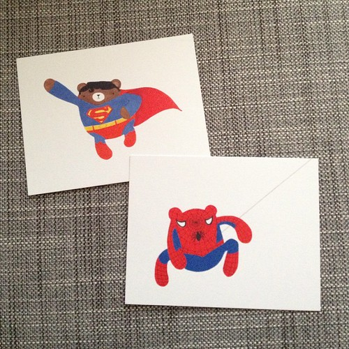 New super pudgy bear postcards arrived today! #migrationgoods #watercolor #illustration #superhero #pudgybear