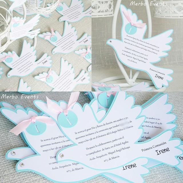 Invitaciones paloma comunión niña Merbo Events