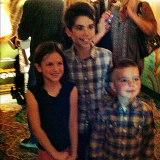 "Stella, Cameron Boyce who plays ""Luke"" on Jessie, and Angry Kid at #chimpanzee today. 